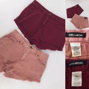 Billabong High Waist Frayed Jean Shorts Lot of 2